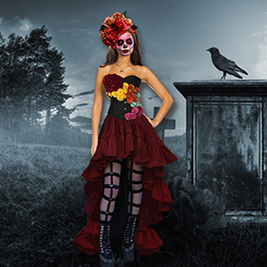 custom cosplay cotume cosplayer costumes day of the dead cosplay sugar skull goth sexy colorful costume